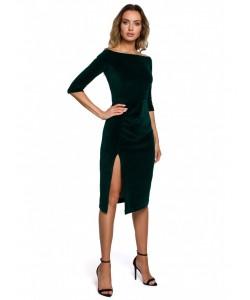 Welurowa sukienka z rozięciem M559 zielona