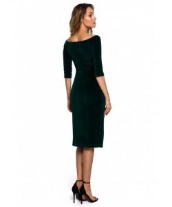 Welurowa sukienka z rozięciem M559 czarna