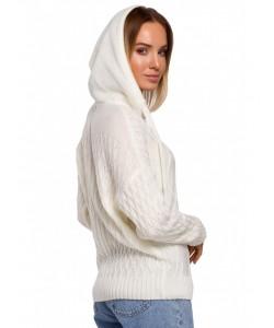 Damski sweter z kapturem M540 ecru
