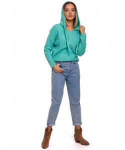 Damski sweter z kapturem M540 zielony