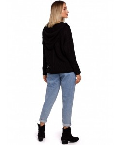 Damski sweter z kapturem M540 czarny