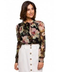 Piękna szyfonowa bluzka w kwiaty S211