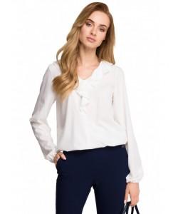 Elegancka bluzka z żabotem S104 ecru