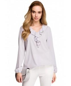 Elegancka bluzka z żabotem S104 szara