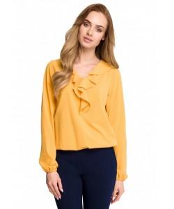 Elegancka bluzka z żabotem S104 żółta