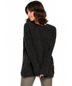 Sweter z kimonowymi rękawami BK009 ciemny grafit