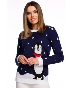 Świąteczny sweter pingwin MXS granatowy