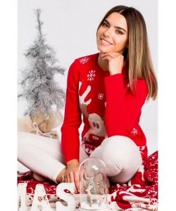 Świąteczny sweter renifer MXS04 czerwony