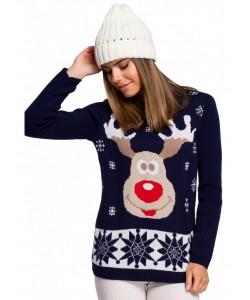 Świąteczny sweter renifer MXS04 granatowy