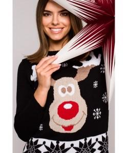 Świąteczny sweter renifer MXS04 czarny