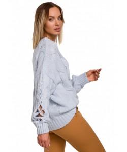 Sweter z oryginalnymi rękawami M539 błękitny