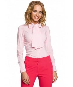 Modna koszula w kratkę z kokardą M089 różowy