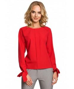 Kobieca bluzka z wiązanymi mankietami M322 czerwona