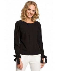 Kobieca bluzka z wiązanymi mankietami M322 czarny