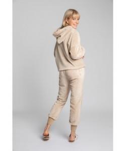 Pluszowe spodnie Joggersy LA004 cappuccino