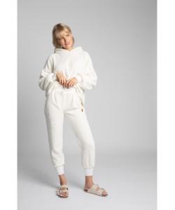 Pluszowe spodnie Joggersy LA004 ecru