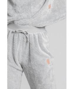 Pluszowe spodnie Joggersy LA004 szary