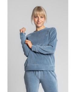 Wygodna welurowa bluza LA011 niebieska