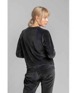 Wygodna welurowa bluza LA011 grafitowy