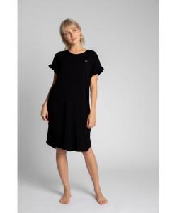 Koszula nocna z falbankami LA030 czarna