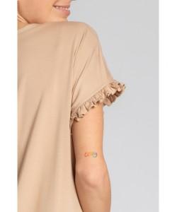 Koszula nocna z falbankami LA030 cappuccino