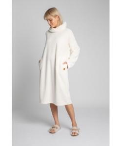 Pluszowa sukienka z kapturem LA002 ecru