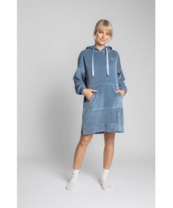 Welurowa sukienka z kapturem LA010 niebieska