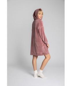 Welurowa sukienka z kapturem LA010 różowa