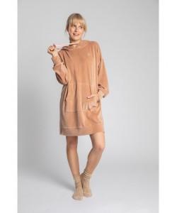 Welurowa sukienka z kapturem LA010 cappuccino
