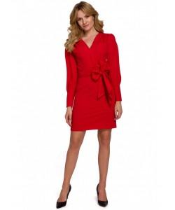 Sukienka z wiązaną kokardą K082 czerwona