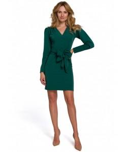 Sukienka z wiązaną kokardą K082 zielona