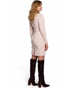 Sukienka z wiązaną kokardą K082 beżowa