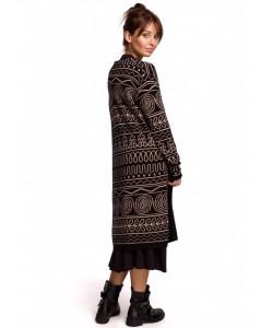 Długi kardigan aztecki wzór BK050 model 1