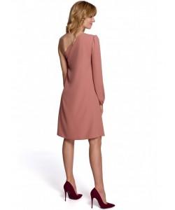 Sukienka na jedno ramię K081 śliwkowy kolor