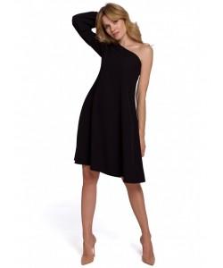 Sukienka na jedno ramię K081 czarny