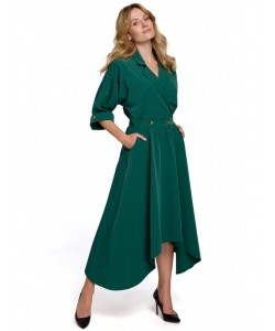 Sukienka z asymetrycznym dołem K086 zielona