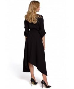Sukienka z asymetrycznym dołem K086 czarna