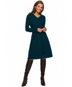 Rozkloszowana sukienka z paskiem S250 zielona