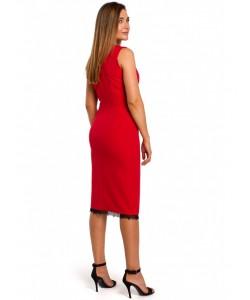 Sukienka z rozcięciem  na dole S190 czerwona