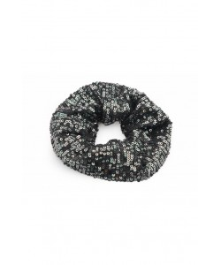 Cekinowa gumka scrunchie AC01 grafit