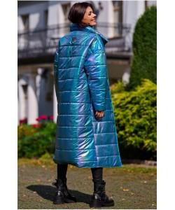 Długi  pikowany płaszcz A387 holo