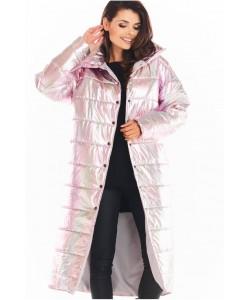 Długi  pikowany płaszcz A387 holo różowy