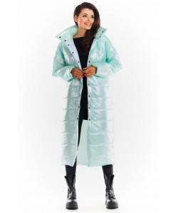 Długi  pikowany płaszcz A387 holo miętowy