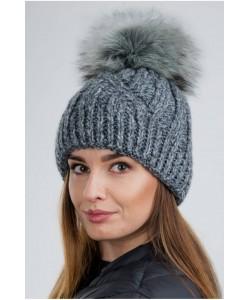 Ciepła zimowa czapka z pomponem CZ09 szary