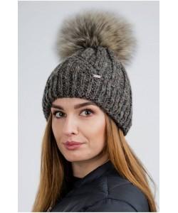 Ciepła zimowa czapka z pomponem CZ09 brązowy