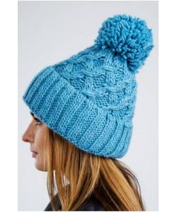 Ciepła zimowa czapka z pomponem CZ08 niebieska