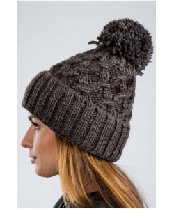 Ciepła zimowa czapka z pomponem CZ08 brązowa