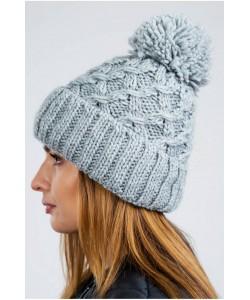 Ciepła zimowa czapka z pomponem CZ08 szary
