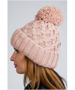 Ciepła zimowa czapka z pomponem CZ08 różowy