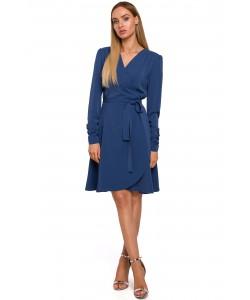 Sukienka na zakładkę M487 niebieski